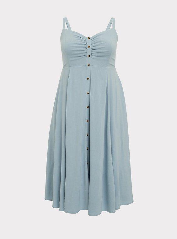 Plus Size Light Blue Button Front Midi Dress, , flat