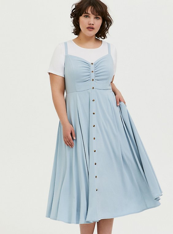 Light Blue Button Front Midi Dress, , hi-res