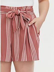 Self Tie Mid Short - Stripe Dusty Rose, STRIPES, alternate