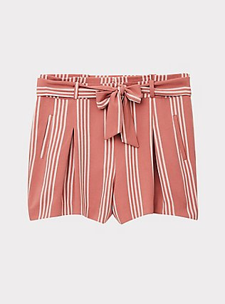 Self Tie Mid Short - Stripe Dusty Rose, STRIPES, flat