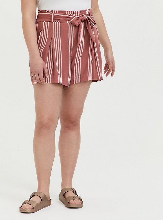 Plus Size Self Tie Mid Short - Stripe Dusty Rose, , hi-res