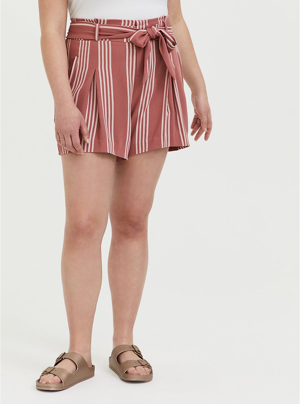 Self Tie Mid Short - Stripe Dusty Rose, STRIPES, hi-res