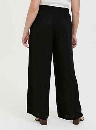 Black Crepe Pleated Drawstring Wide Leg Pant -, DEEP BLACK, alternate