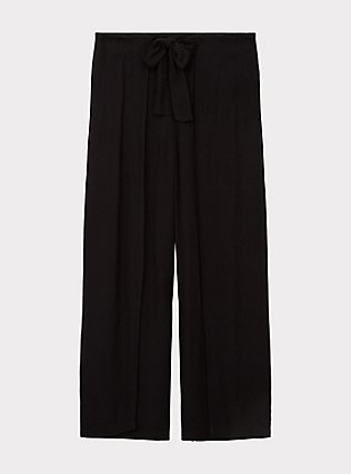Black Crepe Pleated Drawstring Wide Leg Pant -, DEEP BLACK, flat