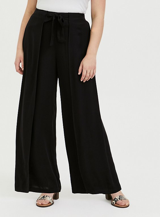 Black Crepe Pleated Drawstring Wide Leg Pant -, , hi-res