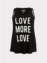 Love More Love Super Soft Black Cutout Tank, DEEP BLACK, hi-res