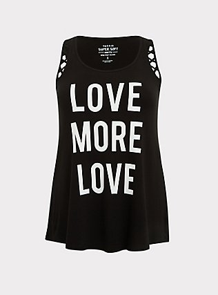 Plus Size Love More Love Super Soft Black Cutout Tank, DEEP BLACK, flat