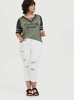 Sarcasm Light Olive Green Burnout Lace-Up Football Tee, AGAVE GREEN, alternate