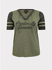 Sarcasm Light Olive Green Burnout Lace-Up Football Tee, AGAVE GREEN, hi-res