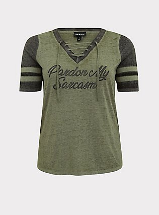 Sarcasm Light Olive Green Burnout Lace-Up Football Tee, AGAVE GREEN, flat