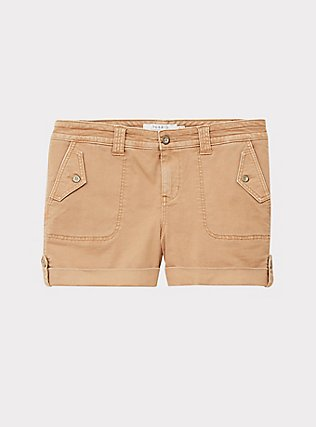 Military Short Short - Twill Khaki Brown , BROWN, flat
