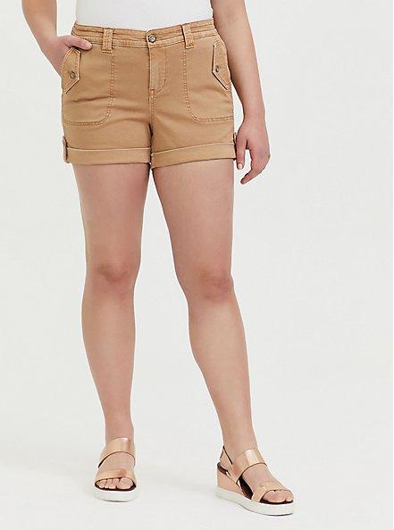Plus Size Military Short Short - Twill Khaki Brown , BROWN, hi-res
