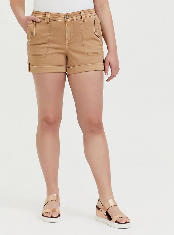 Plus Size Military Short Short - Twill Khaki Brown , , hi-res