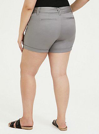 Plus Size Belted Mid Short - Sateen Grey, FROST GRAY, alternate