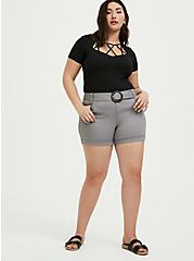 Belted Mid Short - Sateen Grey, FROST GRAY, alternate