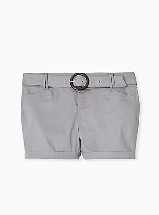 Plus Size Belted Mid Short - Sateen Grey, FROST GRAY, flat