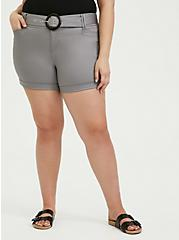 Belted Mid Short - Sateen Grey, FROST GRAY, hi-res