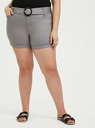 Plus Size Belted Mid Short - Sateen Grey, FROST GRAY, hi-res