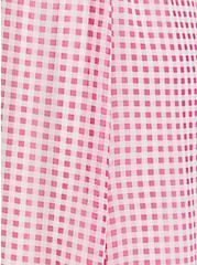 Hot Pink Gingham Chiffon Button Midi Dress, PLAID - PINK, alternate