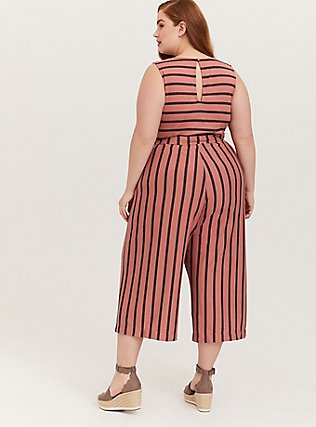 Plus Size Dusty Rose Stripe Textured Self-Tie Culotte Jumpsuit, STRIPE-PINK, alternate