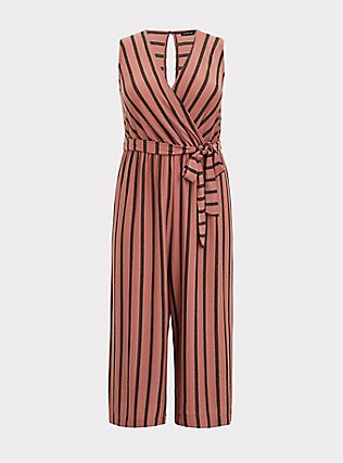 Plus Size Dusty Rose Stripe Textured Self-Tie Culotte Jumpsuit, STRIPE-PINK, flat