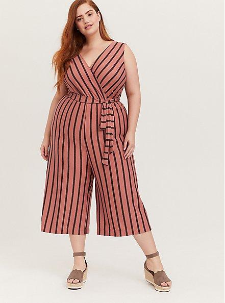 Dusty Rose Stripe Textured Self-Tie Culotte Jumpsuit, STRIPE-PINK, hi-res