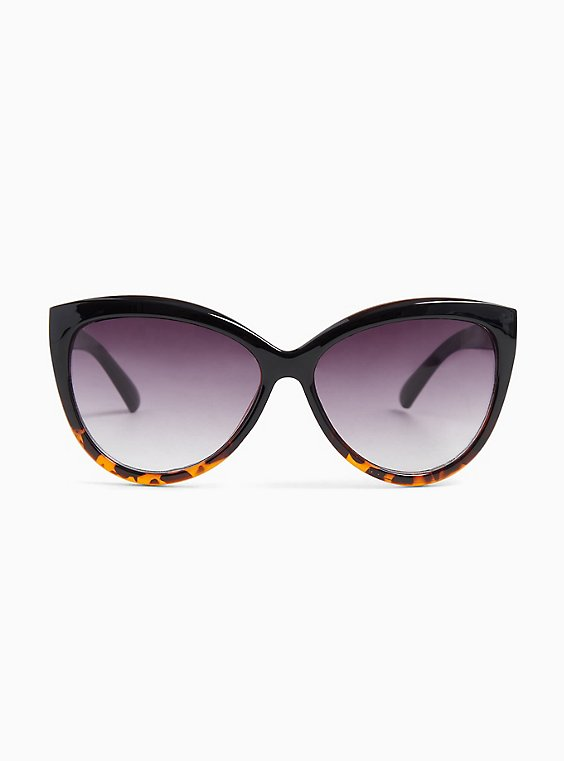 Black & Tortoiseshell Cat Eye Sunglasses, , hi-res