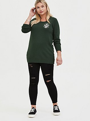 Plus Size Harry Potter Slytherin Dark Green Embroidered Sweater, DARK GREEN, alternate