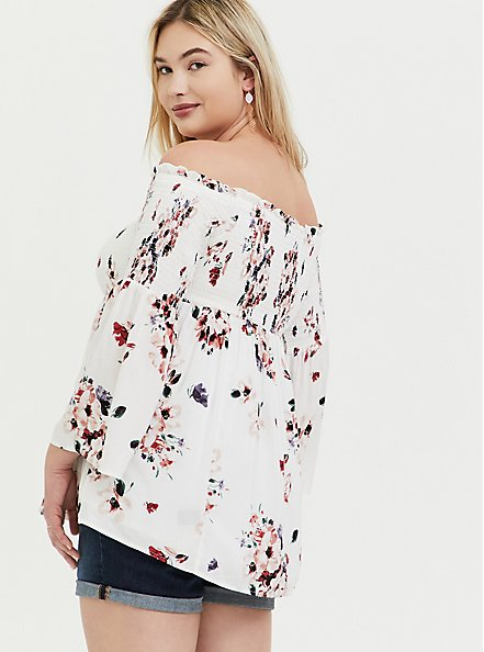 Plus Size White Floral Challis Lace-Up Off Shoulder Babydoll Tunic, FLORAL - WHITE, alternate