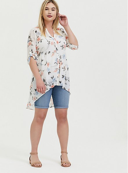 Plus Size Lexie - White Floral Chiffon Hi-Lo Babydoll Tunic, FLORAL - WHITE, alternate