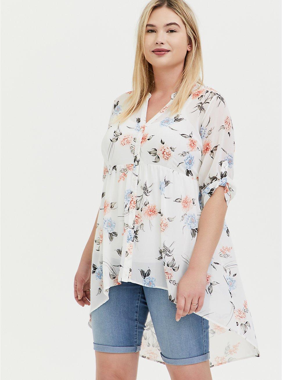 Lexie - White Floral Chiffon Hi-Lo Babydoll Tunic, FLORAL - WHITE, hi-res