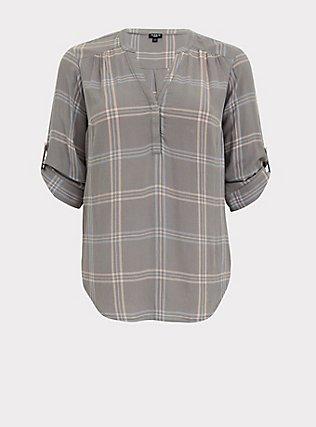 Harper - Grey Plaid Textured Pullover Blouse, PLAID - GREY, flat