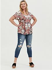 Plus Size Dusty Rose Floral Challis Button Babydoll Top, FLORAL - PINK, alternate