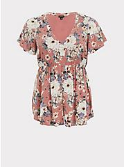 Dusty Rose Floral Challis Button Babydoll Top, FLORAL - PINK, hi-res
