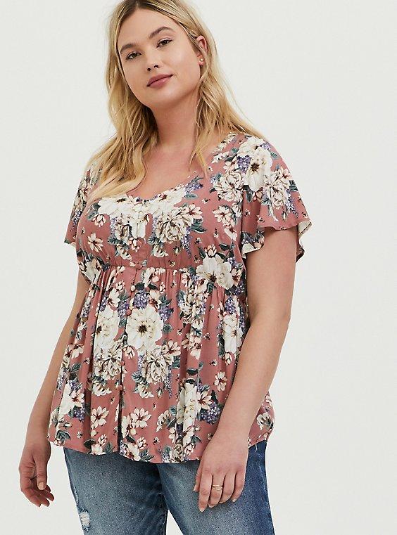 Plus Size Dusty Rose Floral Challis Button Babydoll Top, , hi-res