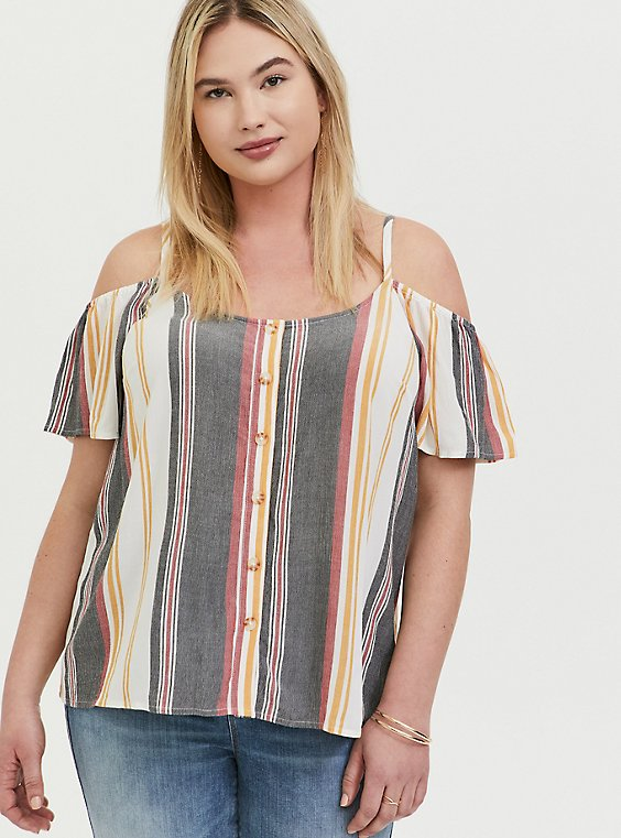 Plus Size Multi Stripe Textured Button Front Cold ShoulderTop, MULTI, hi-res