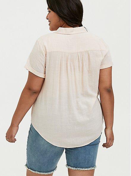 Light Pink Textured Button Front Shirt, PEACH BLUSH, alternate