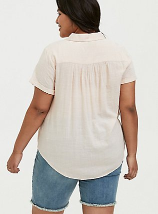 Plus Size Light Pink Textured Button Front Shirt, PEACH BLUSH, alternate