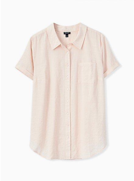 Light Pink Textured Button Front Shirt, PEACH BLUSH, hi-res
