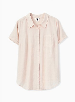 Plus Size Light Pink Textured Button Front Shirt, PEACH BLUSH, flat