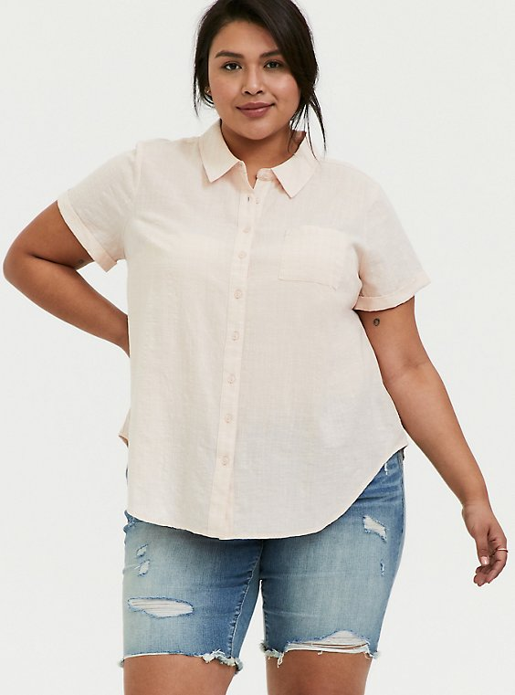 Plus Size Light Pink Textured Button Front Shirt, , hi-res