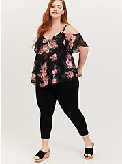 Black Floral Chiffon Handkerchief Cold Shoulder Top, MULTI, alternate