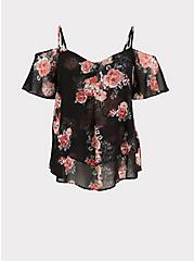 Black Floral Chiffon Handkerchief Cold Shoulder Top, MULTI, hi-res