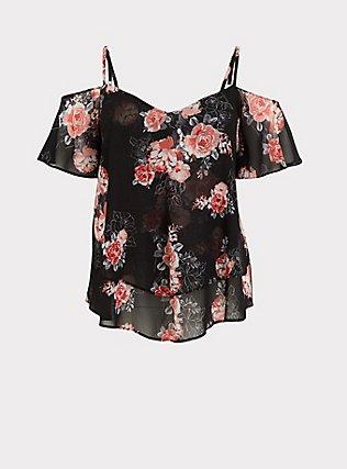 Black Floral Chiffon Handkerchief Cold Shoulder Top, MULTI, flat