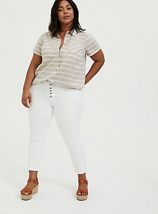 Plus Size Taupe & White Stripe Textured Button Front Shirt, MULTI, alternate