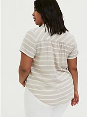 Taupe & White Stripe Textured Button Front Shirt, MULTI, alternate