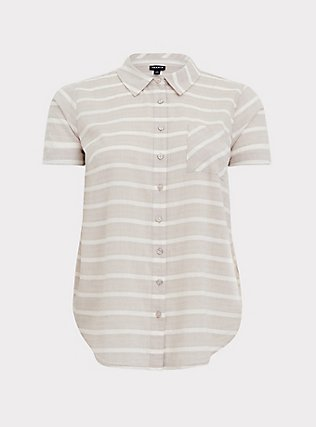 Plus Size Taupe & White Stripe Textured Button Front Shirt, MULTI, flat