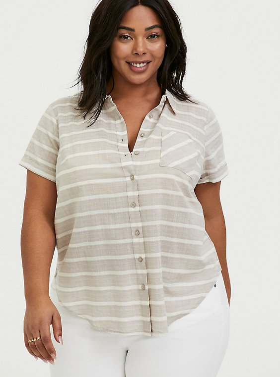 Plus Size Taupe & White Stripe Textured Button Front Shirt, , hi-res
