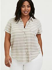 Taupe & White Stripe Textured Button Front Shirt, MULTI, hi-res