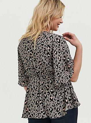 Lily - Grey Leopard Georgette Babydoll Blouse, LEOPARD - GREY, alternate